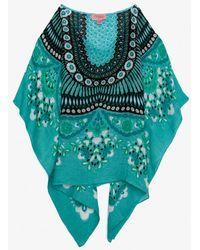 Theodora & Callum   Floral Print Scarf Caftan Turquoise   Lyst