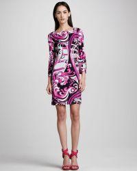 Emilio Pucci Printed Squareneck Dress - Lyst