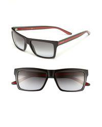 Gucci 56Mm Sunglasses - Shiny Black - Lyst