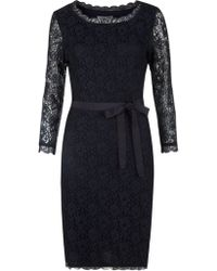 Jigsaw Lace Fitted Dress - Blue