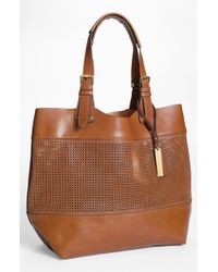 Vince Camuto Perforated Leather Tote - Lyst