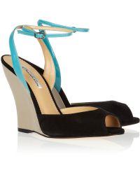 Oscar de la Renta Olga Suede and Patent Leather Wedge Sandals - Black