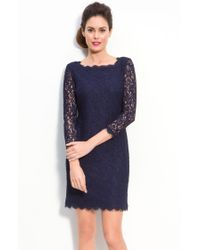 Adrianna Papell Long Sleeve Lace Sheath Dress - Lyst