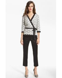Alex Evenings Lace Faux Wrap Blouse - Lyst