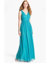 Donna Morgan 'Julie' Twist-Waist Silk Chiffon Gown - Lyst