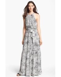 Jessica Simpson Scalloped Back Print Maxi Dress - Lyst