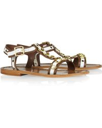 Marni Embellished Leather Flat Sandals - Lyst