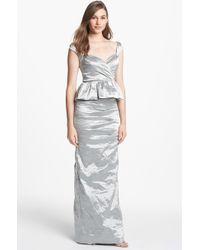 Nicole Miller Techno Metal Peplum Gown - Lyst