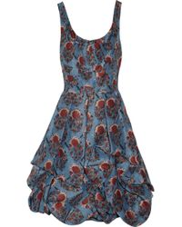 Oscar de la Renta Floralprint Silk organza Dress - Lyst