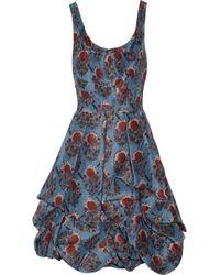 Oscar de la Renta Floralprint Silk organza Dress floral - Lyst