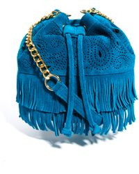 ASOS Leather Duffle with Paisley Cutout and Fringing - Blue