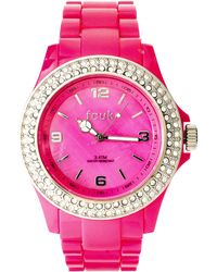 French Connection | Pink Stone Set Plastic Watch | Lyst