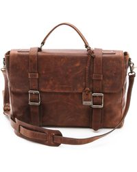 Frye Logan Flap Briefcase - Brown