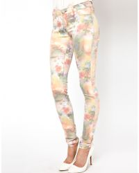 Just Female Painted Flower Skinny Jeans - White