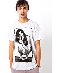 KR3W Tshirt Flashback Girl Print Slim Fit - White