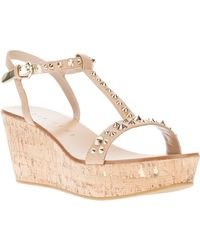 Lola Cruz - Studded Wedge Sandal - Lyst