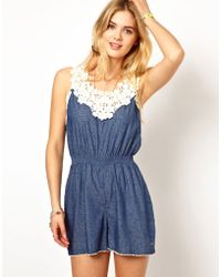 Pepe Jeans Printed Playsuit with Crochet Top - Blue