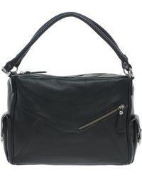 Ri2k Leather Handheld Double Strap Bag - Black