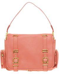 Ri2k Leather Double Buckle Shoulder Bag - Pink