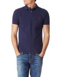 Ralph Lauren Slim Fit Mesh Polo Shirt Navy - Lyst