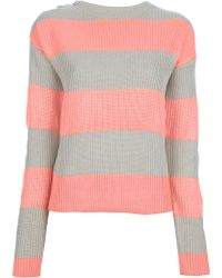 Lacoste L!ive Bold Striped Sweater - Pink