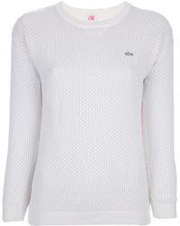 Lacoste L!ive Pattern Knit Sweater - White