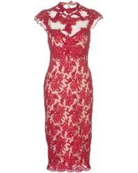 Marchesa Applique Lace Dress - Lyst