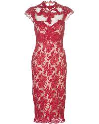 Marchesa Applique Lace Dress red - Lyst