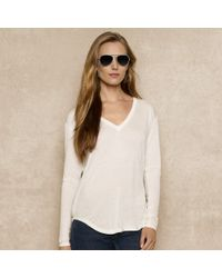 Ralph Lauren Blue Label Longsleeved Vneck Top - Lyst