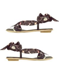Alberto Gozzi - Black Shoe Print Silk Tie Sandal Shoes - Lyst