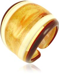 Antica Murrina Cuba Amber and White Murano Glass Fashion Ring - Metallic
