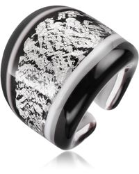 Antica Murrina Cuba Black and White Murano Glass Ring