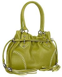 Buti Green Tassel Drawstring Pebble Leather Satchel Handbag - Lyst