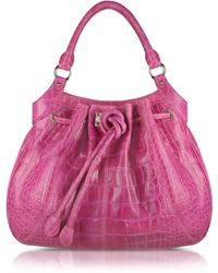 Buti - Fuchsia Croco Stamped Leather Drawstring Tote Bag - Lyst