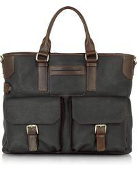 Chiarugi Genuine Leather Tote - Gray