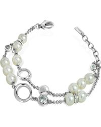 DKNY - Stainless Steel and Glass Pearl Bracelet - Lyst