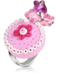 Dolci Gioie - Sterling Silver Cake Charm Ring - Lyst