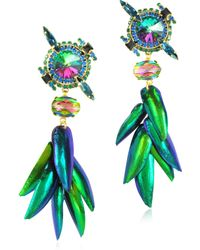 Erickson Beamon Aquarela Do Brasil Crystals Clip On Earrings - Green