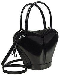 Fontanelli Dramatic Black Italian Leather Handbag