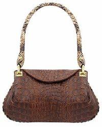 Fontanelli Brown Croco-embossed Leather Flap Bag W/python Trim
