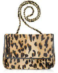 Fontanelli Calfhair Leopard Print Shoulder Bag - Multicolor