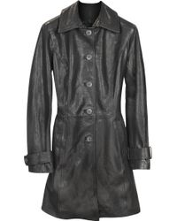 FORZIERI - Black Leather Trench Coat - Lyst