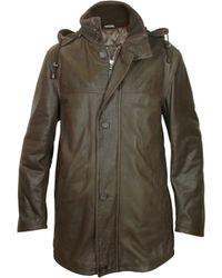 FORZIERI - Detachable Hood Dark Brown Leather Car Coat - Lyst