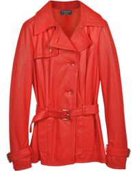 FORZIERI - Red Leather Trench Coat - Lyst