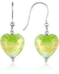 House of Murano Mare - Lime Murano Glass Heart Drop Earrings - Metallic