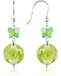House of Murano Vortice - Lime Swirling Murano Glass Bead Earrings - Metallic