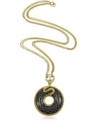 Just Cavalli - Amazonia - Gold Plated and Onyx Pendant Necklace - Lyst