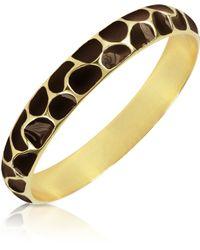 Just Cavalli Brown Giraffe Patterned Goldplated Bangle Bracelet - Metallic