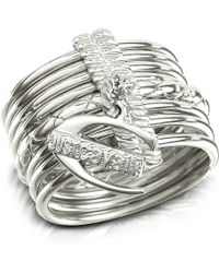 Just Cavalli Infinity - Logo Charm Silver Plated Stacked Ring - Metallic