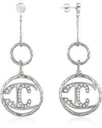 Just Cavalli - Monogram Crystal Logo Drop Earrings - Lyst